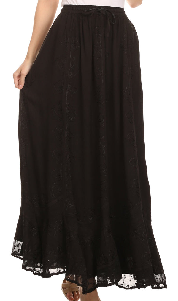 Sakkas Jaclyn Adjustable Skirt With Lace Embroidered Trim And Detailed Embroidery