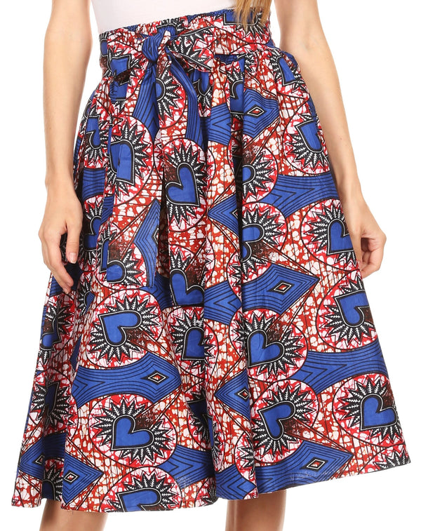 Sakkas Adisa Ankara African Wax Print Culotte Pants Colorful with Elastic Waist#color_Blue / Red
