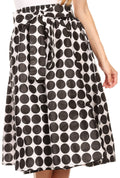 Sakkas Mahina Wax Print Polka Dot Full Circle Elastic Waist Midi Skirt#color_Black