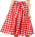 Sakkas Mahina Wax Print Polka Dot Full Circle Elastic Waist Midi Skirt#color_Maroon