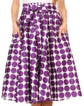 Sakkas Mahina Wax Print Polka Dot Full Circle Elastic Waist Midi Skirt#color_Purple