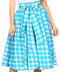 Sakkas Mahina Wax Print Polka Dot Full Circle Elastic Waist Midi Skirt#color_Turquoise