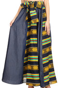 Sakkas Monifa Long Maxi Skirt Colorful Ankara Wax Dutch African Skirt Gorgeous#color_1073-YellowGreenMulti