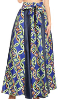 Sakkas Monifa Long Maxi Skirt Colorful Ankara Wax Dutch African Skirt Gorgeous#color_14-BlueGreenMulti