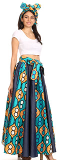 Sakkas Monifa Long Maxi Skirt Colorful Ankara Wax Dutch African Skirt Gorgeous#color_17-Multi