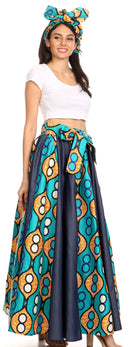 Sakkas Monifa Long Maxi Skirt Colorful Ankara Wax Dutch African Skirt Gorgeous
