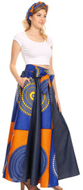 Sakkas Monifa Long Maxi Skirt Colorful Ankara Wax Dutch African Skirt Gorgeous#color_21-Multi