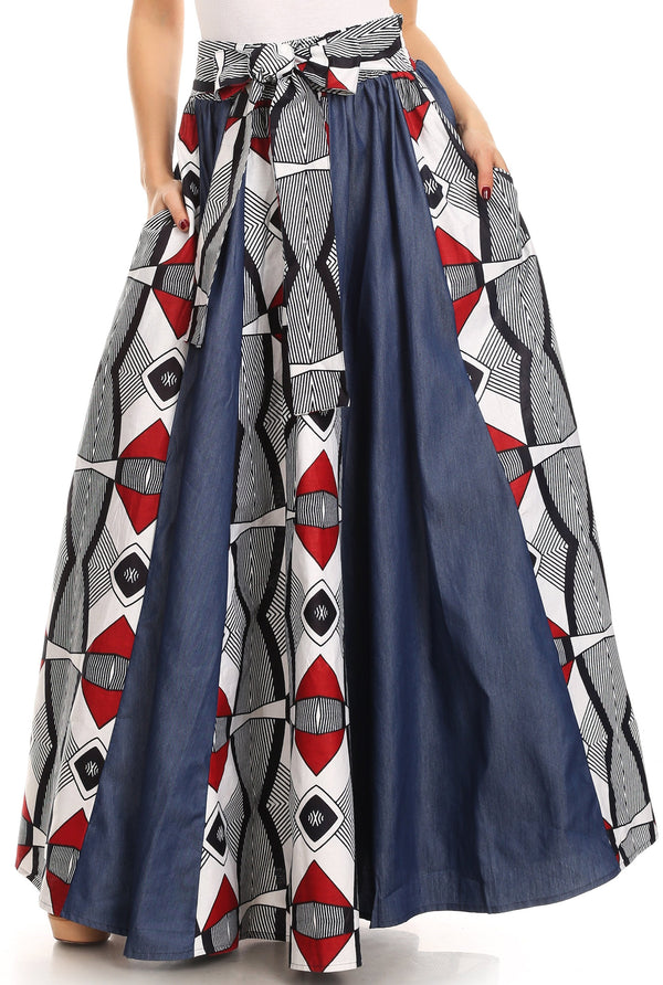 Sakkas Monifa Long Maxi Skirt Colorful Ankara Wax Dutch African Skirt Gorgeous#color_2288 Black/white