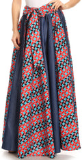 Sakkas Monifa Long Maxi Skirt Colorful Ankara Wax Dutch African Skirt Gorgeous#color_2293 Red/turq-tile