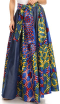 Sakkas Monifa Long Maxi Skirt Colorful Ankara Wax Dutch African Skirt Gorgeous#color_2294 Multi/tribal