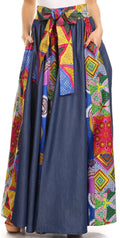 Sakkas Monifa Long Maxi Skirt Colorful Ankara Wax Dutch African Skirt Gorgeous#color_2295 Multi/tribal