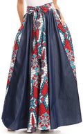 Sakkas Monifa Long Maxi Skirt Colorful Ankara Wax Dutch African Skirt Gorgeous#color_2296 Red/turq-ornate