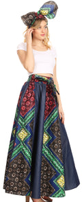 Sakkas Monifa Long Maxi Skirt Colorful Ankara Wax Dutch African Skirt Gorgeous#color_32-Multi