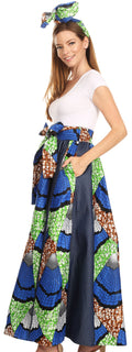 Sakkas Monifa Long Maxi Skirt Colorful Ankara Wax Dutch African Skirt Gorgeous#color_33-Multi