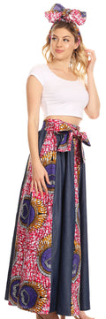 Sakkas Monifa Long Maxi Skirt Colorful Ankara Wax Dutch African Skirt Gorgeous#color_34-Multi