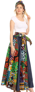 Sakkas Monifa Long Maxi Skirt Colorful Ankara Wax Dutch African Skirt Gorgeous#color_421-Multi