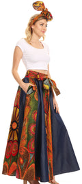 Sakkas Monifa Long Maxi Skirt Colorful Ankara Wax Dutch African Skirt Gorgeous#color_501-Multi