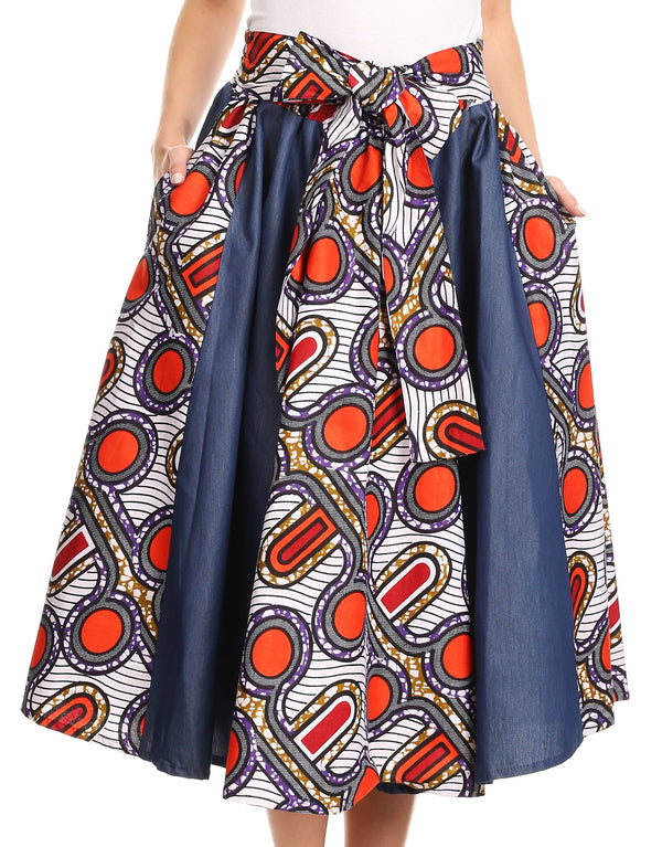 Sakkas Dayo Circle Mid Skirt with Elastic Waist Colorful Ankara African Wax Dutch#color_Waxmultigeometric7