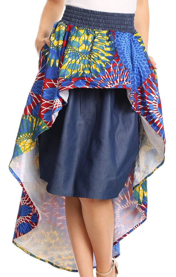 Sakkas Bahati Hi Low Mermaid African Ankara Dutch Wax Cotton Skirt Colorful#color_Waxbluetribal2