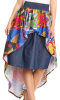 Sakkas Bahati Hi Low Mermaid African Ankara Dutch Wax Cotton Skirt Colorful#color_Waxmultipaisley1