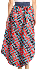 Sakkas Bahati Hi Low Mermaid African Ankara Dutch Wax Cotton Skirt Colorful