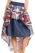Sakkas Bahati Hi Low Mermaid African Ankara Dutch Wax Cotton Skirt Colorful#color_Waxwhitetile5