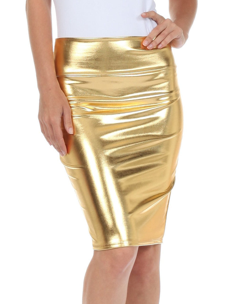 Sakkas Women's Shiny Metallic Liquid High Waist Pencil Skirt