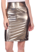 Sakkas Women's Shiny Metallic Liquid High Waist Pencil Skirt#color_Grey