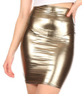 Sakkas Women's Shiny Metallic Liquid High Waist Pencil Skirt#color_Pewter