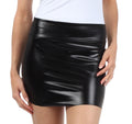 Sakkas Women's Shiny Metallic Liquid Mini Skirt#color_Black