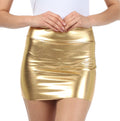 Sakkas Women's Shiny Metallic Liquid Mini Skirt#color_Gold