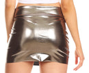 Sakkas Women's Shiny Metallic Liquid Mini Skirt