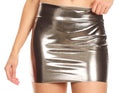 Sakkas Women's Shiny Metallic Liquid Mini Skirt#color_Pewter