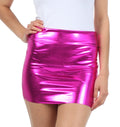 Sakkas Women's Shiny Metallic Liquid Mini Skirt#color_Pink