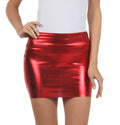 Sakkas Women's Shiny Metallic Liquid Mini Skirt#color_Red