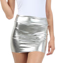 Sakkas Women's Shiny Metallic Liquid Mini Skirt#color_Silver