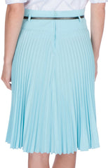 Sakkas Knee Length Pleated A-Line Skirt with Skinny Belt