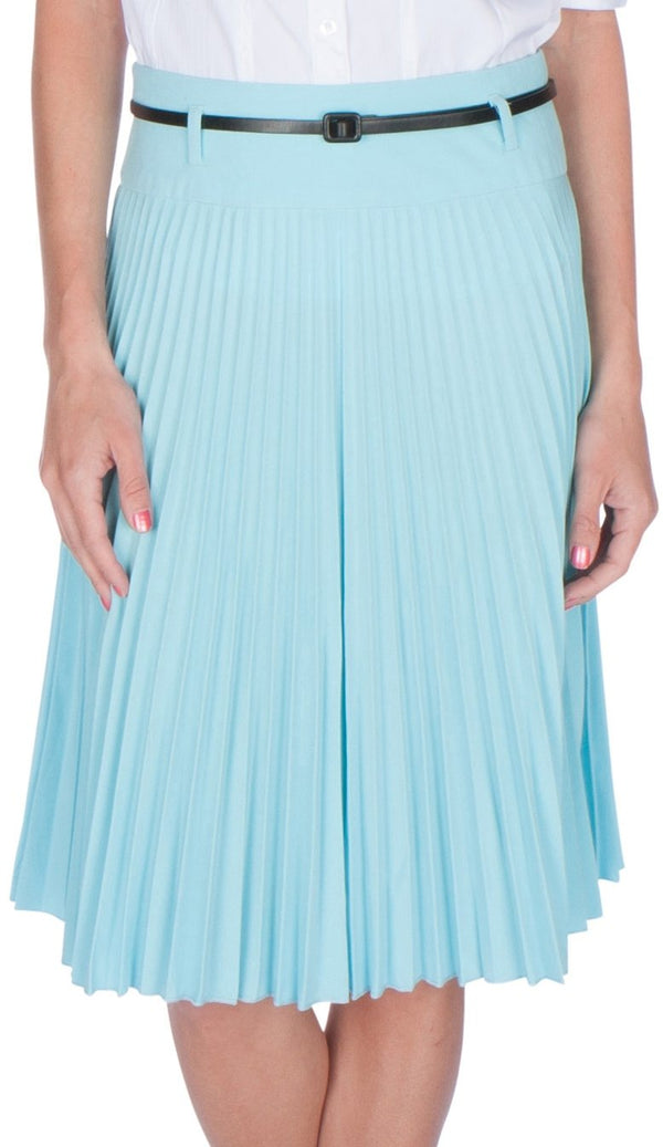 Sakkas Knee Length Pleated A-Line Skirt with Skinny Belt#color_Baby Blue