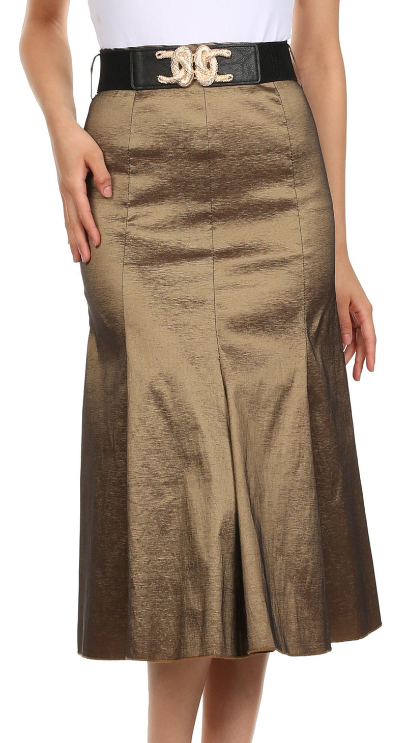 Sakkas Tiffany Tea Length Flared A-line Holiday Skirt