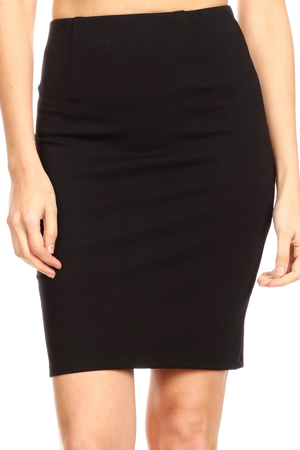 Sakkas Anana Women's Basic Versatile Slim Stretchy Solid Pencil Skirt Made in USA#color_Black