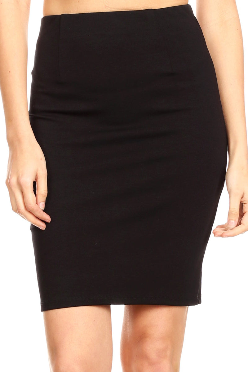 Sakkas Anana Women's Basic Versatile Slim Stretchy Solid Pencil Skirt Made in USA