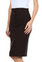 Sakkas Petite High Waist Stretch Pencil Skirt with Four Button Detail