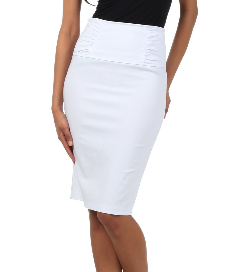 Sakkas Petite High Waist Stretch Pencil Skirt with Shirred Waist Detail