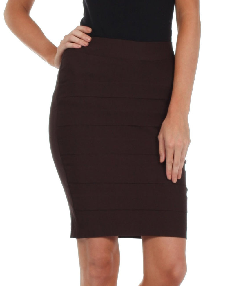 Sakkas Knee Length Tiered Sleek Stretch Skirt
