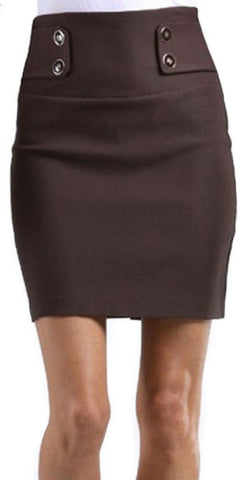 High Waist Stretch Pencil Skirt with Button Detail