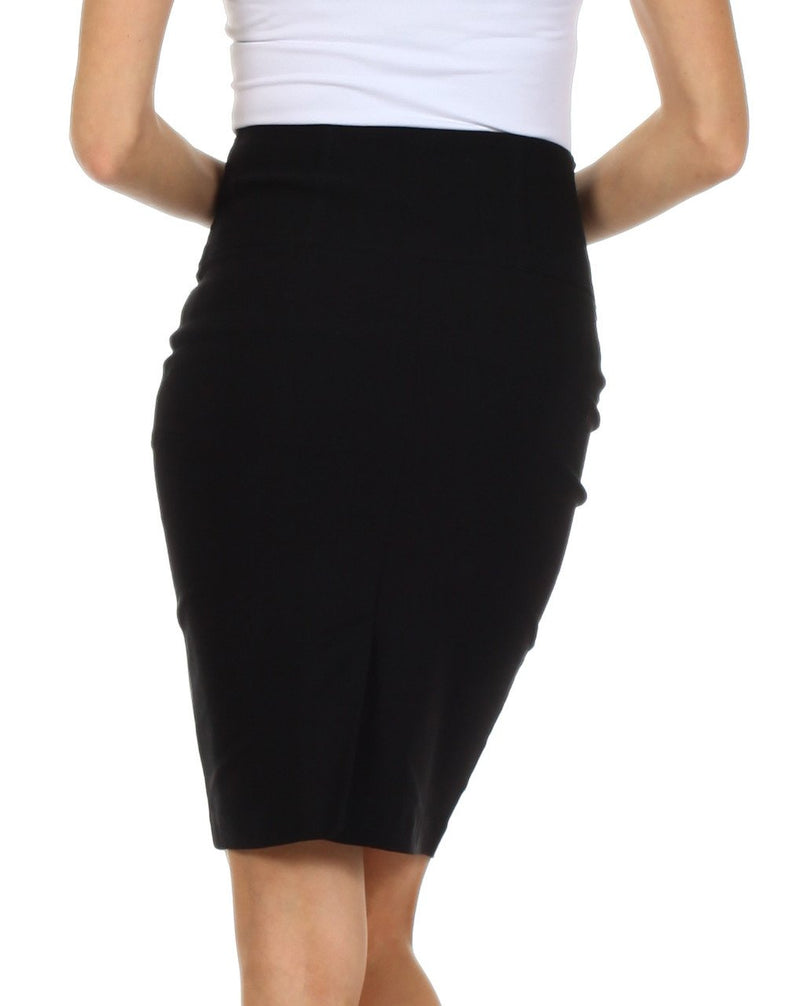 Knee Length High Waist Stretch Pencil Skirt