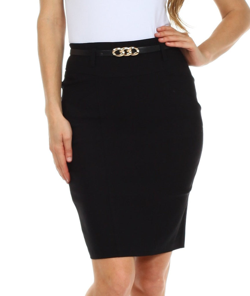 Sakkas Women's Shirred Hip Stretch Pencil Skirt with Skinny Belt