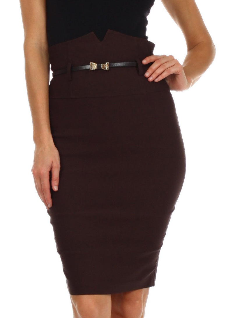 Sakkas High Waist Stretch Pencil Skirt with Metallic Bow Skinny Belt