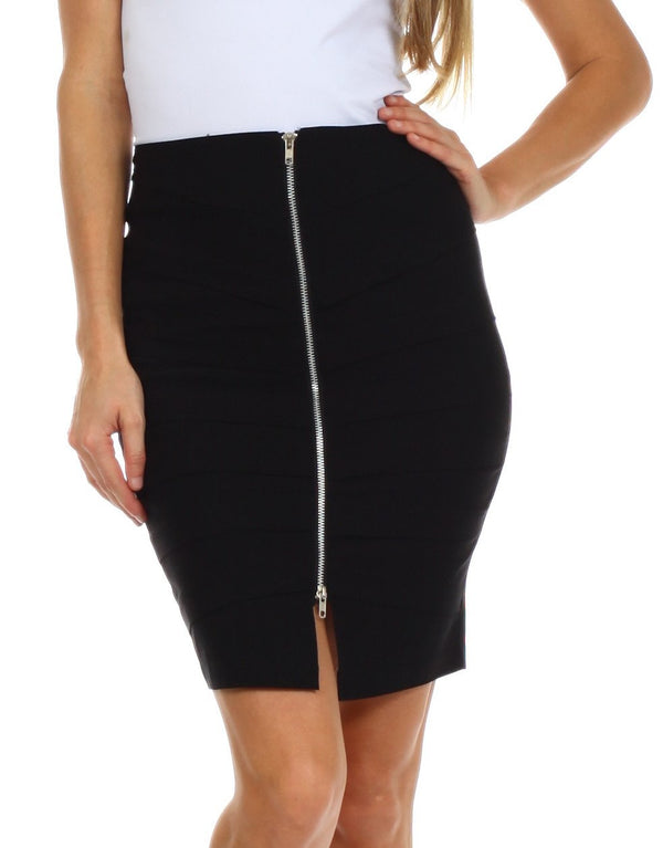 Above the Knee Zippered Tiered Sleek Stretch Pencil Skirt