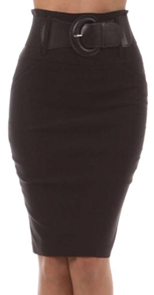 Knee Length High Waist Stretch Pencil Skirt with Wide Belt